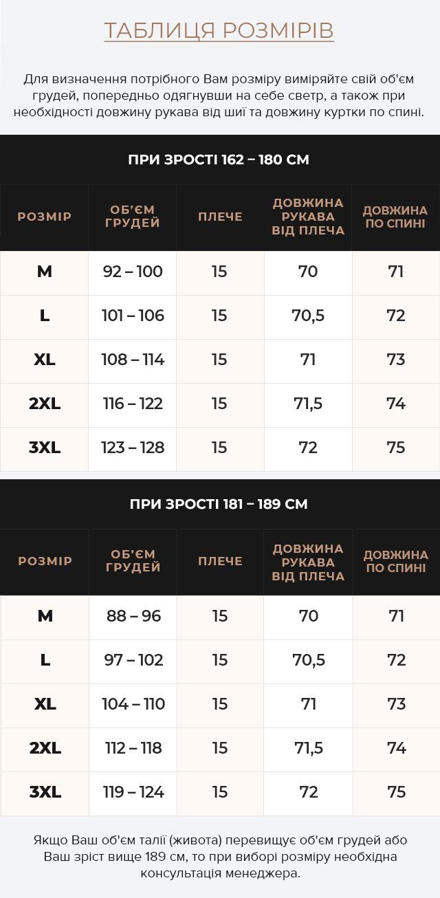 Таблиця розмірів Куртка – воздуховик попелястий зимовий із капюшоном чоловічий модель 43520