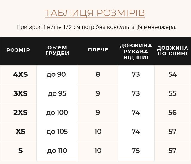 Таблиця розмірів Жіноча пудрова куртка з вітрозахисним клапаном модель 21470
