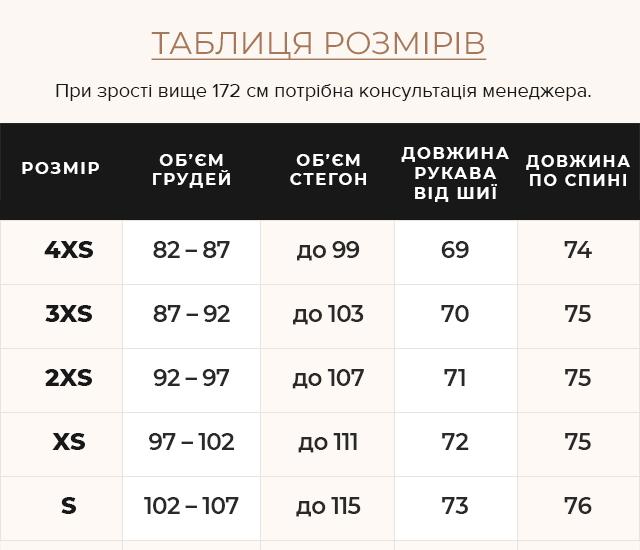 Таблиця розмірів Куртка осінньо-весняна модна жіноча колір чорний модель 25680