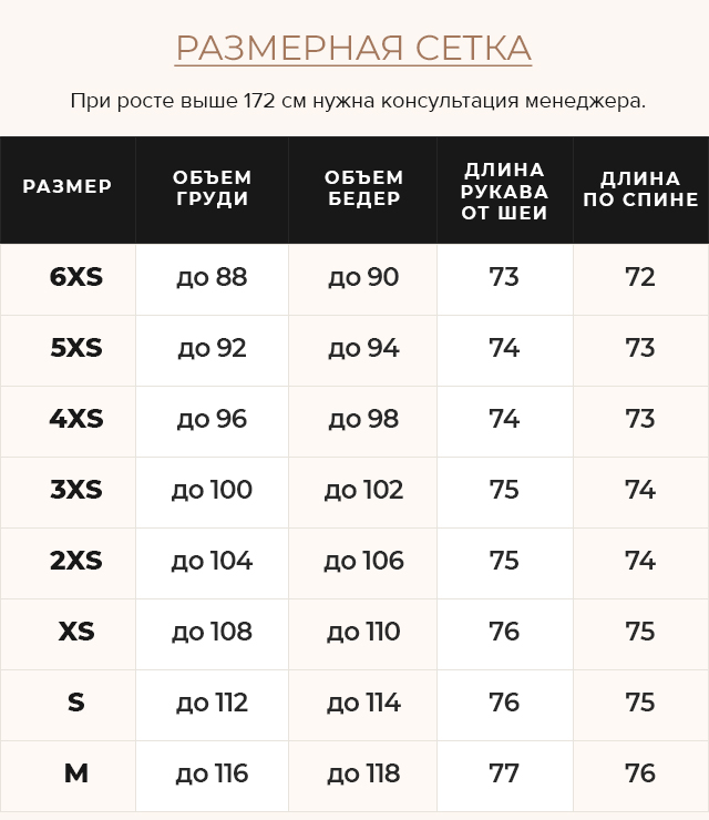 Таблица размеров Мягкий чёрный вариант классической куртки на девушку модель 24350