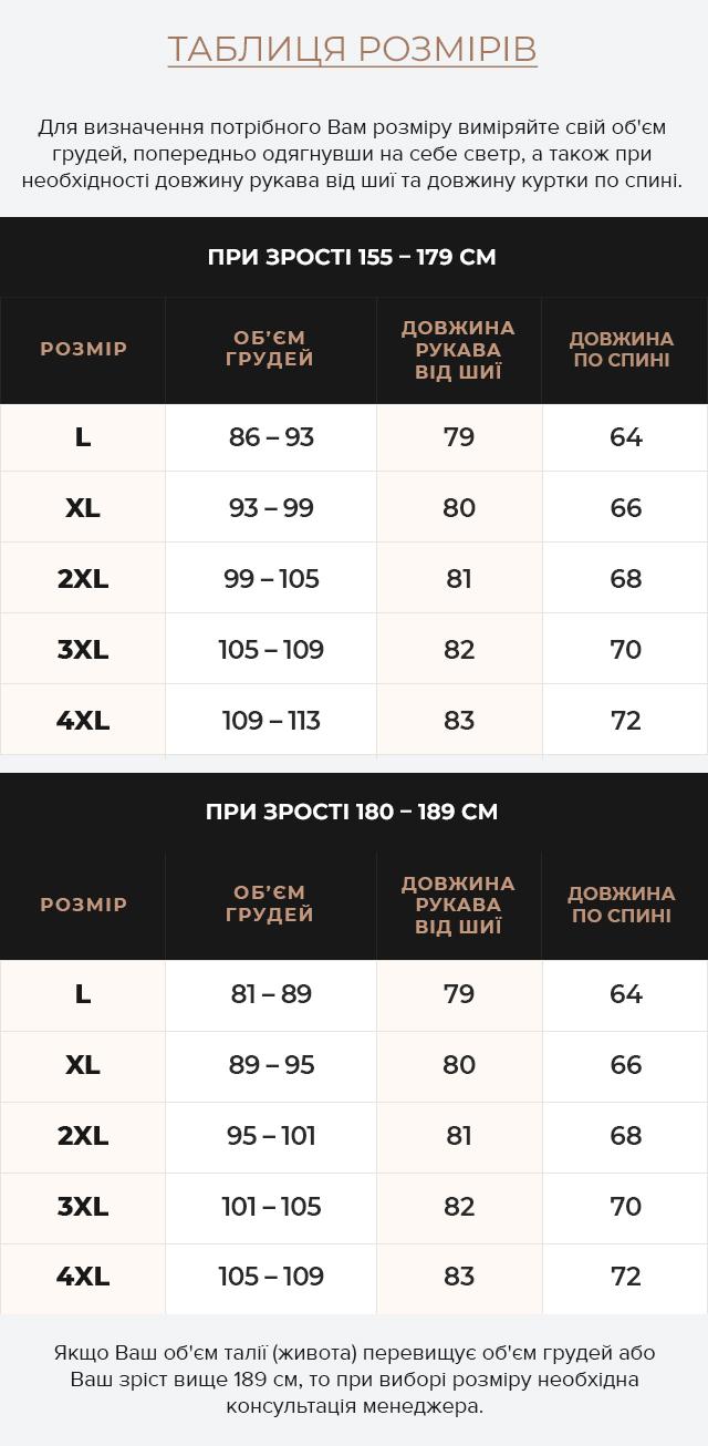 Таблиця розмірів Шкіряна чоловіча куртка кольору хакі модель 36361