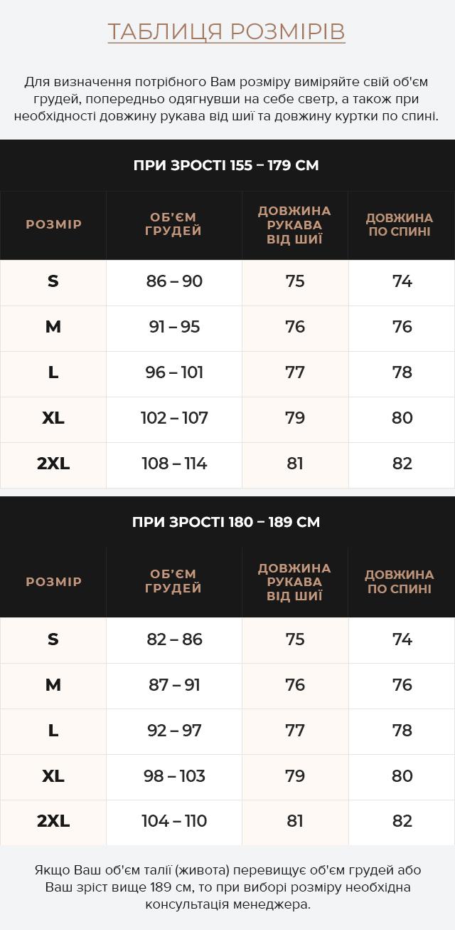 Таблиця розмірів Чорна зимова чоловіча куртка з коміром модель 25310