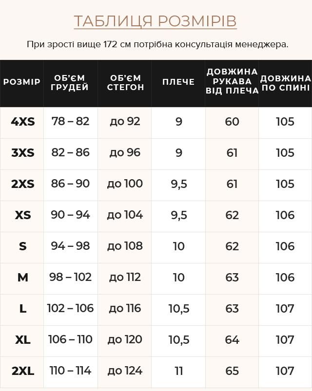 Таблиця розмірів Оливкова куртка з капюшоном жіноча модель 43110