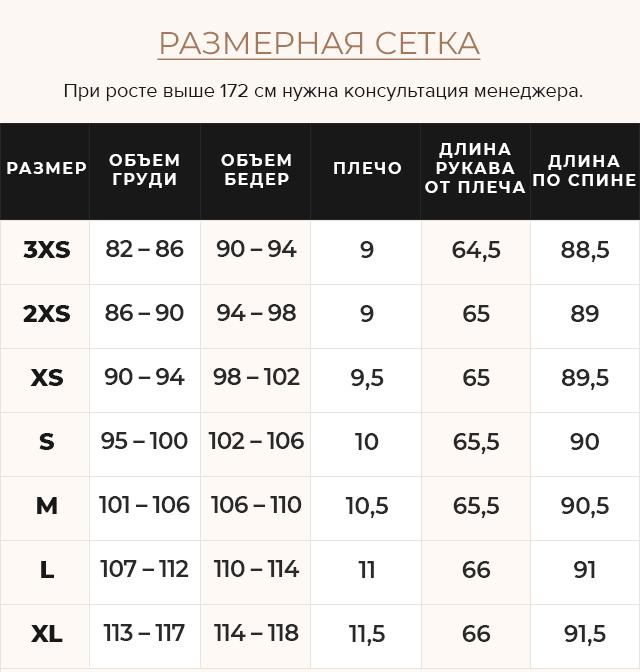 Таблица размеров Куртка женская модная цвет ниагара модель 66870