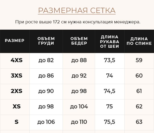 Таблица размеров Графитовая куртка осенне-весенняя женская практичная модель 22150