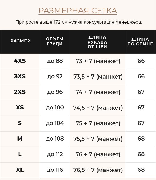 Таблица размеров Сапфировая куртка женская практичная модель 57520