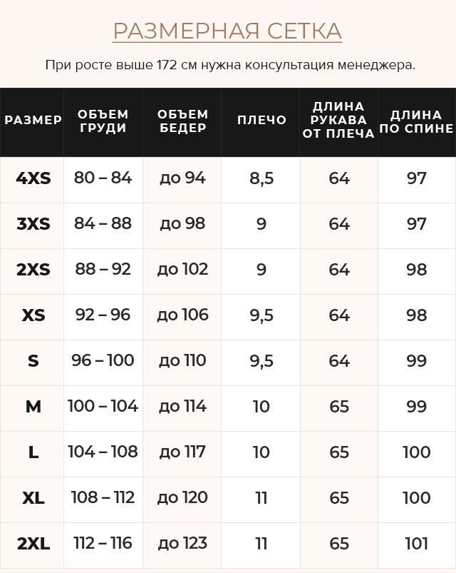Таблица размеров Куртка теплая зимняя женская цвет черный модель 44860