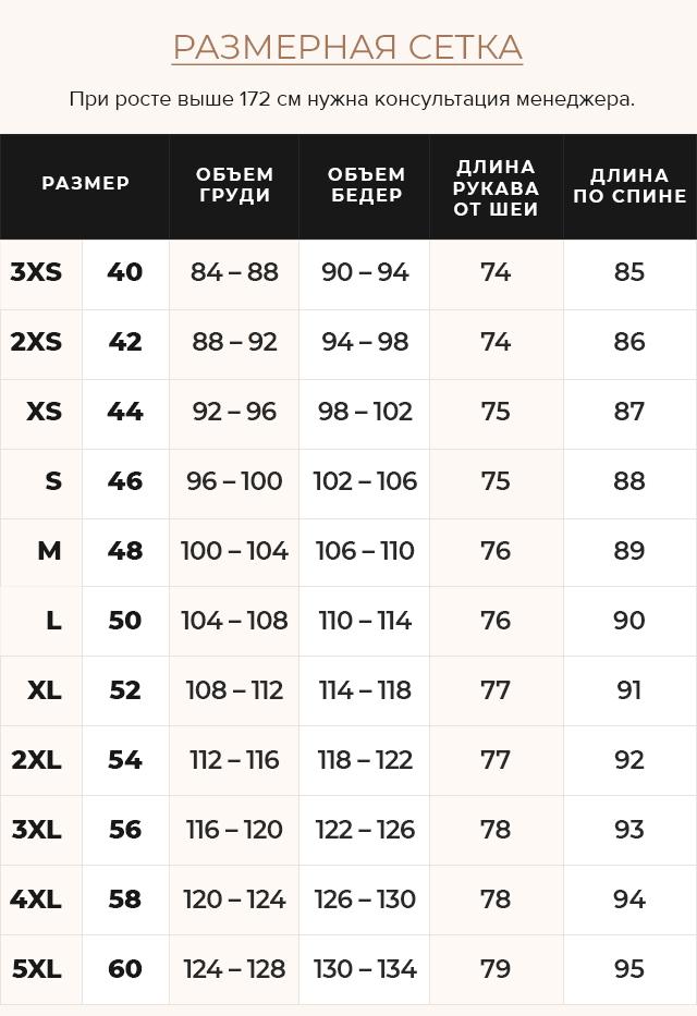 Таблица размеров Элегантная рубиновая женская куртка модель 31068