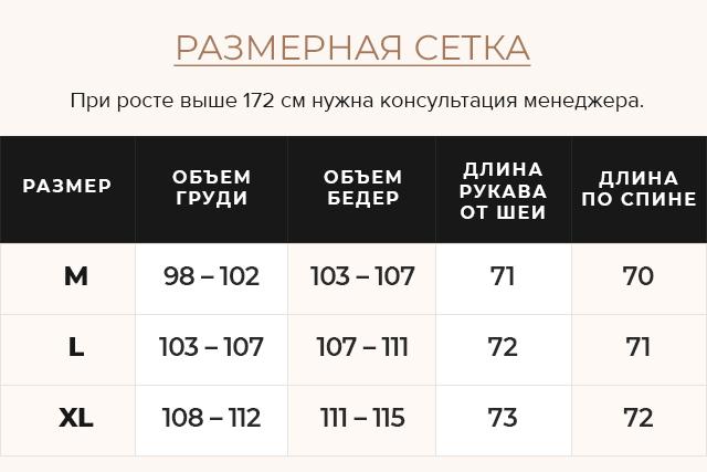 Таблица размеров Розовая короткая куртка зимняя женская модель 8812