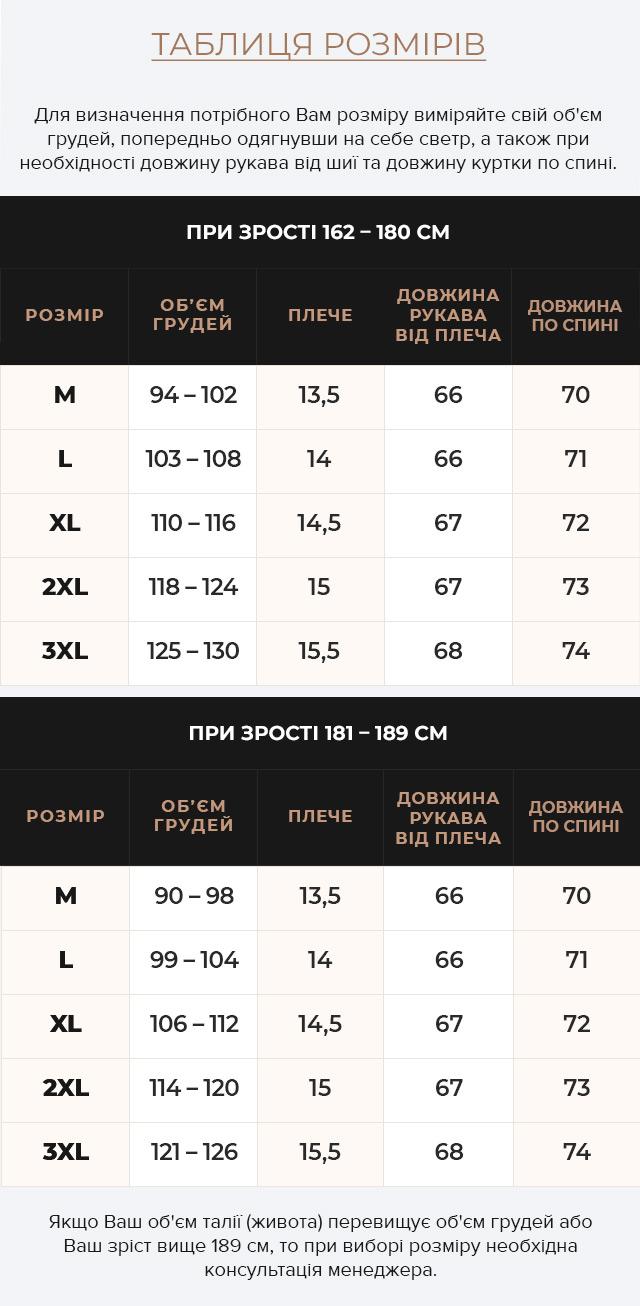 Таблиця розмірів Куртка – воздуховик стильний зимовий чоловічий колір мокрий асфальт модель 48210