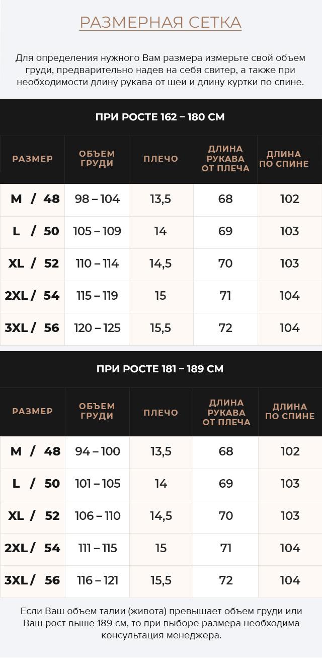 Таблица размеров Мужская куртка с глубокими карманами зимняя чёрная модель 49609