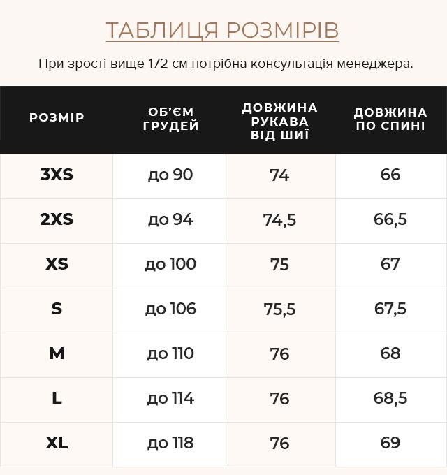 Таблиця розмірів Куртка з вшитим капюшоном жіноча осінньо-весняна сапфірова модель 68240