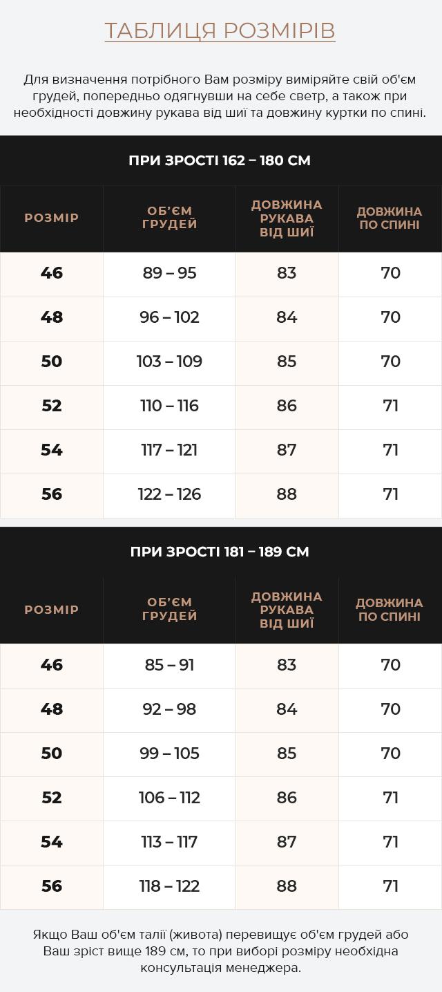 Таблиця розмірів Куртка зимова чоловіча колір темно-синій-червоний модель 45115