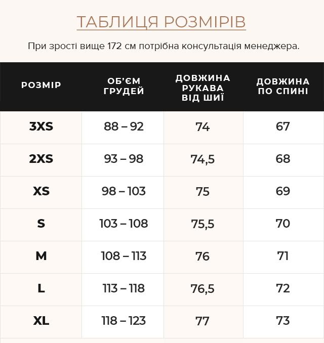 Таблиця розмірів Брендова синя куртка жіноча модель 63045