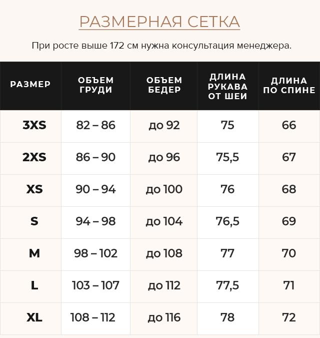 Таблица размеров Женская куртка оригинальная цвет сапфировый модель 61030