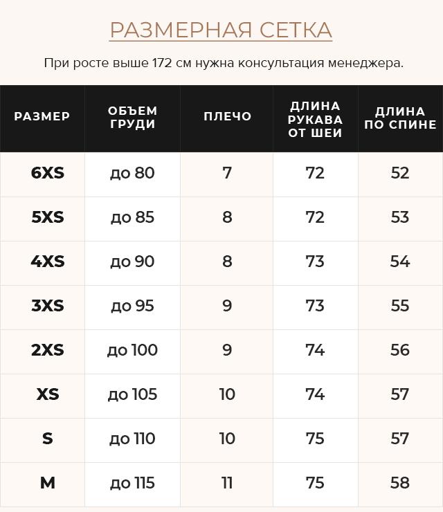 Таблица размеров Модная осенняя куртка на девочку пудровая модель 21470