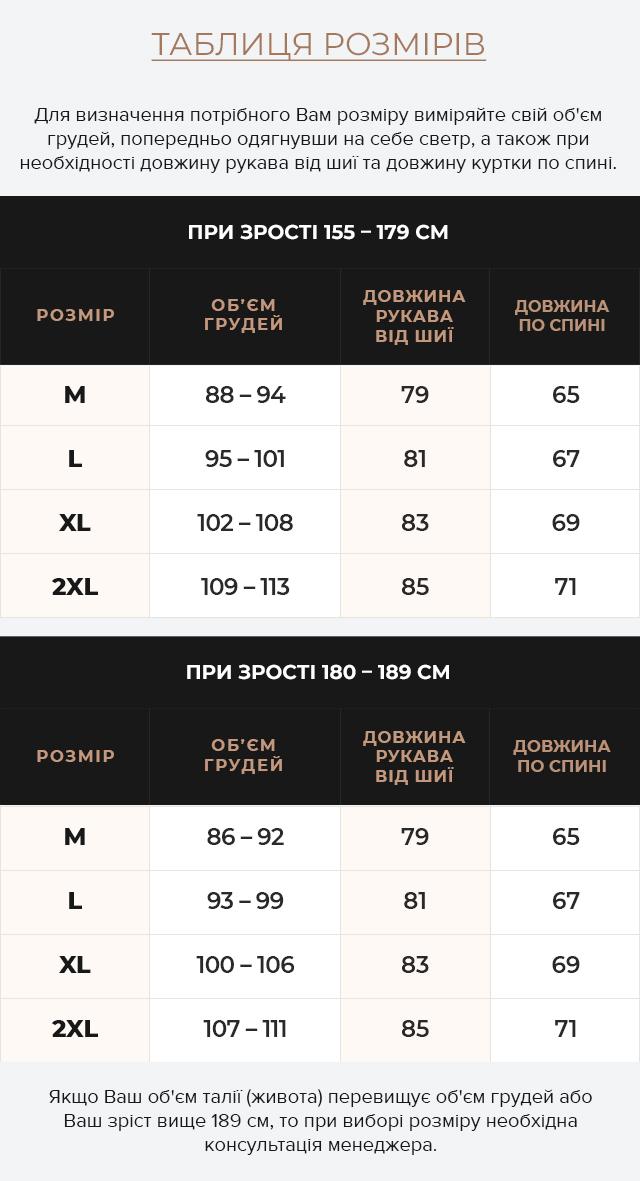 Таблиця розмірів Підліткова куртка в стилі бомбер темно-синя модель 46575