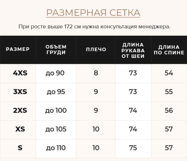 Таблица размеров Куртка графитовая женская осенне-весенняя модель 21470