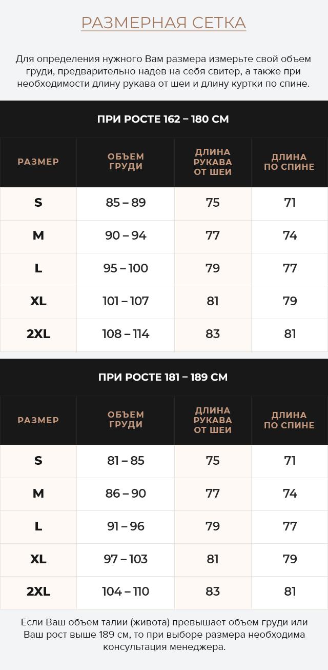 Таблица размеров Теплая куртка цвета кофе мужская зимняя модель 78270