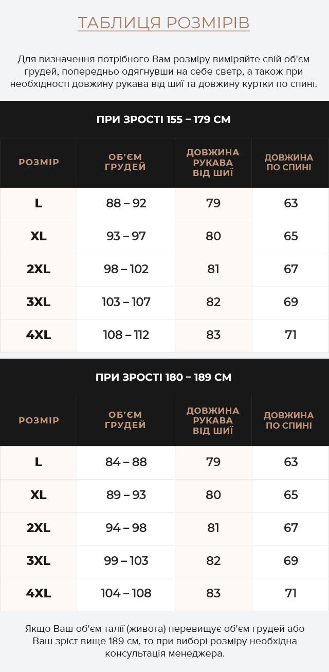 Таблиця розмірів Осінньо-весняна чоловіча куртка кольору хакі модель 3645