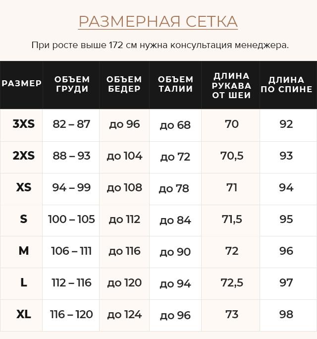 Таблица размеров Синяя куртка женская с карманами модель 68410