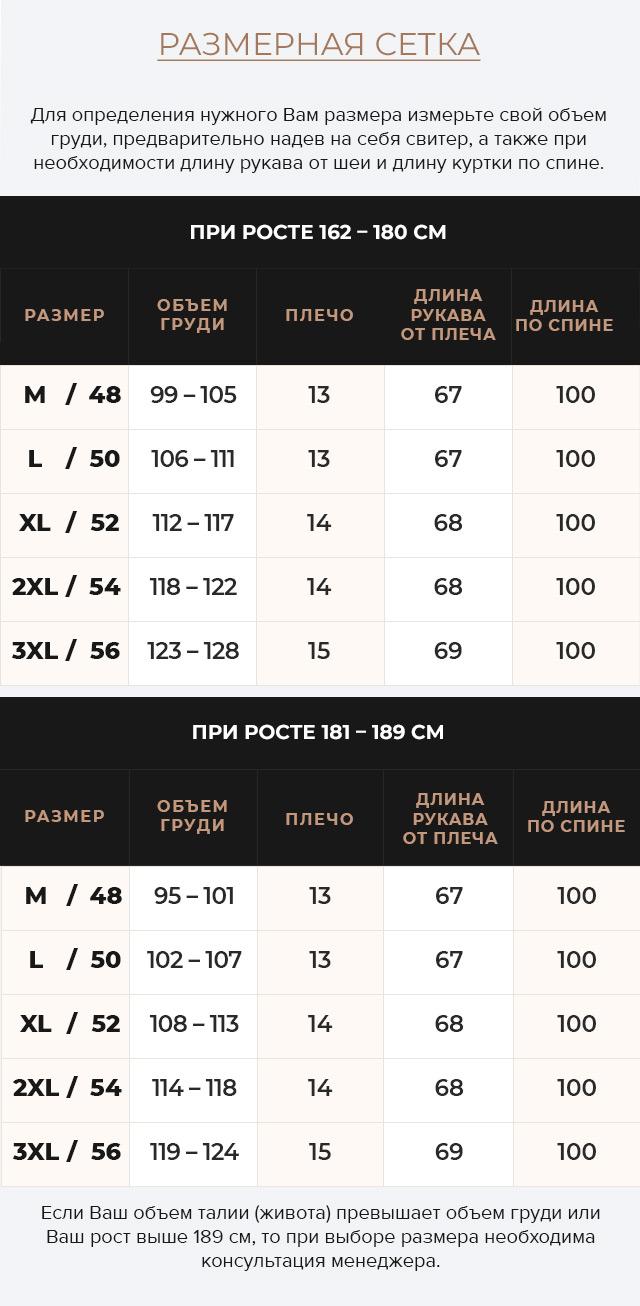Таблица размеров Куртка – воздуховик свободного кроя чёрный мужской зимний модель 30816