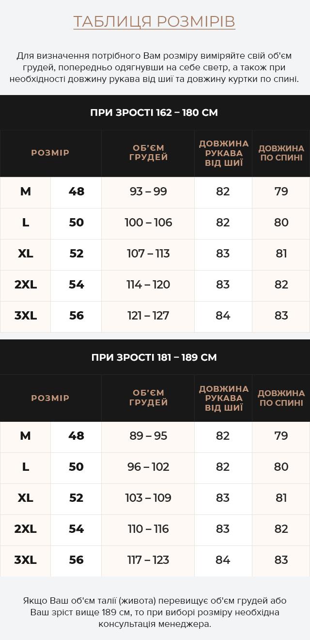 Таблиця розмірів Чоловіча чорна парка зимова з капюшоном модель 2694