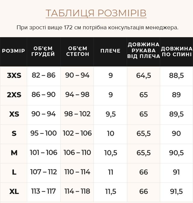 Таблиця розмірів Брендова жіноча куртка осінньо-весняна кольору ніагара модель 66870