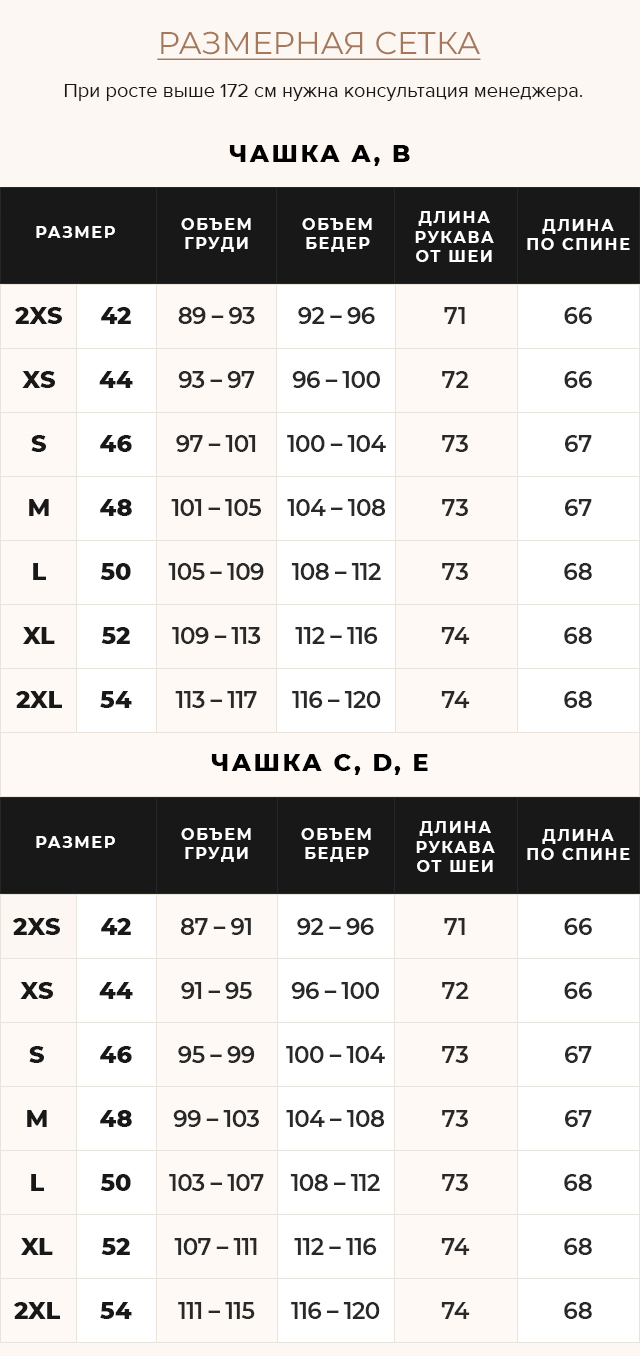 Таблица размеров Фиолетовая куртка прямого фасона женская модель 15115