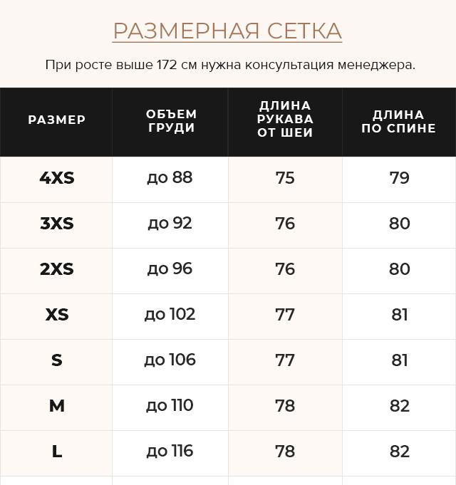 Таблица размеров Рубиновая трендовая куртка женская модель 43070