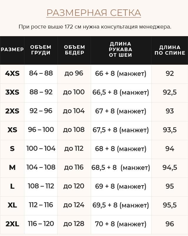 Таблица размеров Изумрудная куртка женская с капюшоном модель 42150