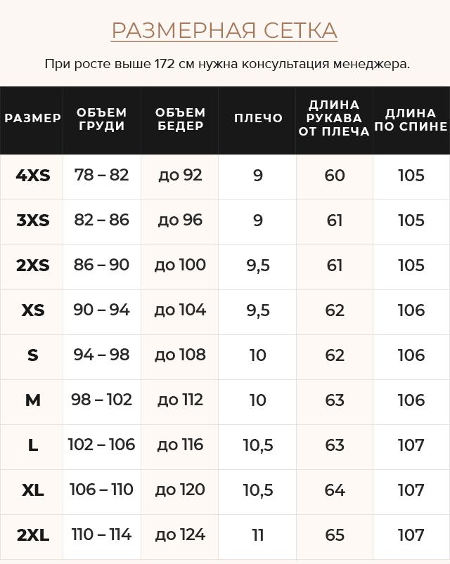 Таблица размеров Жемчужно-серая куртка с манжетами женская модель 43110
