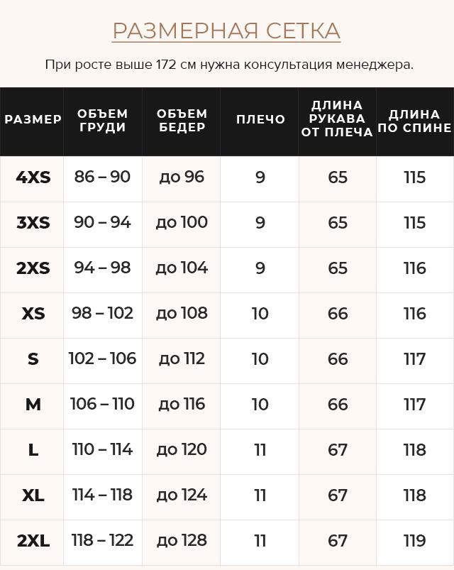 Таблица размеров Куртка с прорезными карманами женская зимняя черная модель 45085