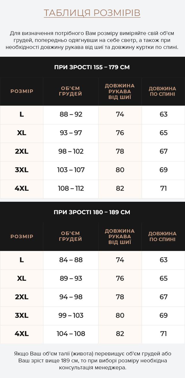 Таблиця розмірів Темно-синя куртка стандартної довжини осінньо-весняна чоловіча модель 4327