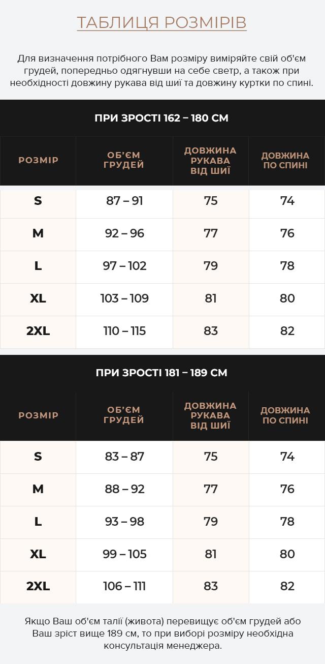 Таблиця розмірів Куртка зимова темно-сірого кольору чоловіча дизайнерська модель 71368