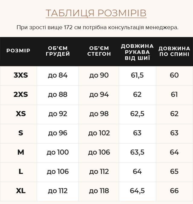 Таблиця розмірів Оригінальна куртка сапфірова жіноча осінньо-весняна модель 67510