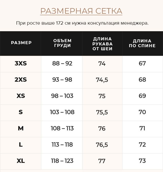 Таблица размеров Фирменная женская куртка цвет перламутровый светло-серый модель 63045