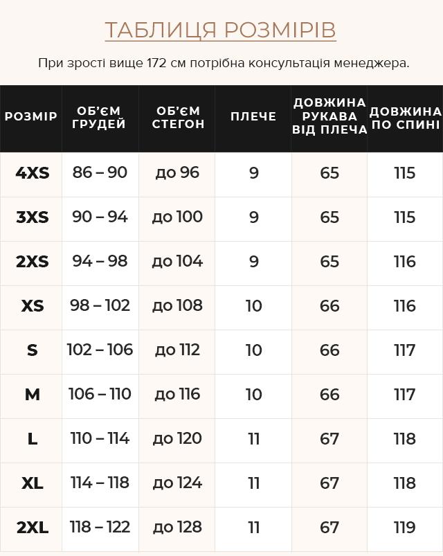 Таблиця розмірів Тепла жіноча куртка колір синій оксамит модель 45085