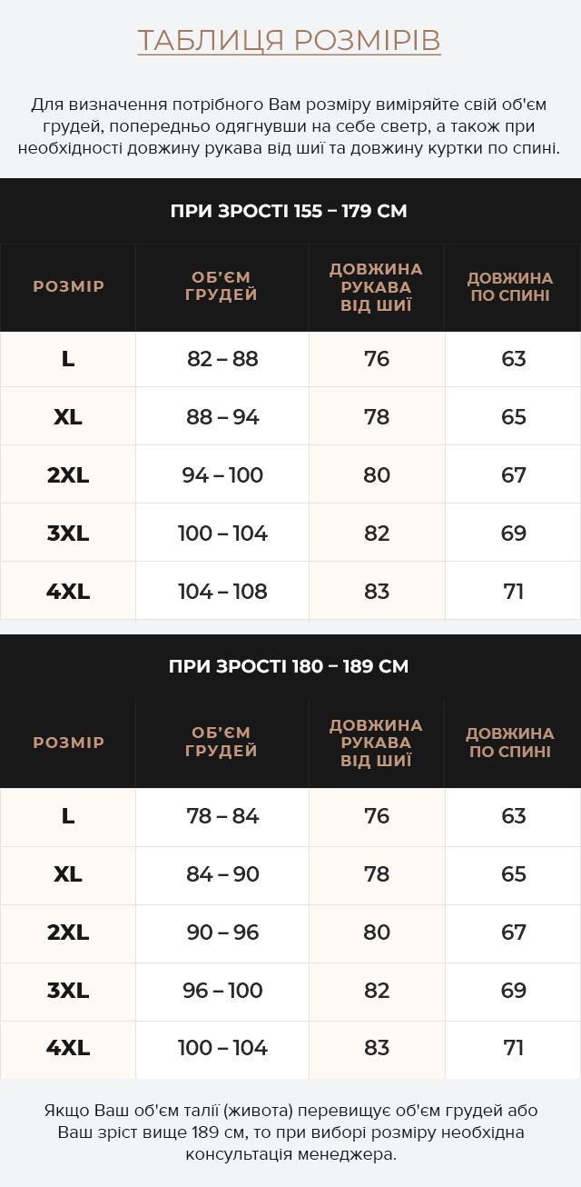 Таблиця розмірів Темно-синя чоловіча куртка осінньо-весняна з коміром модель 43663
