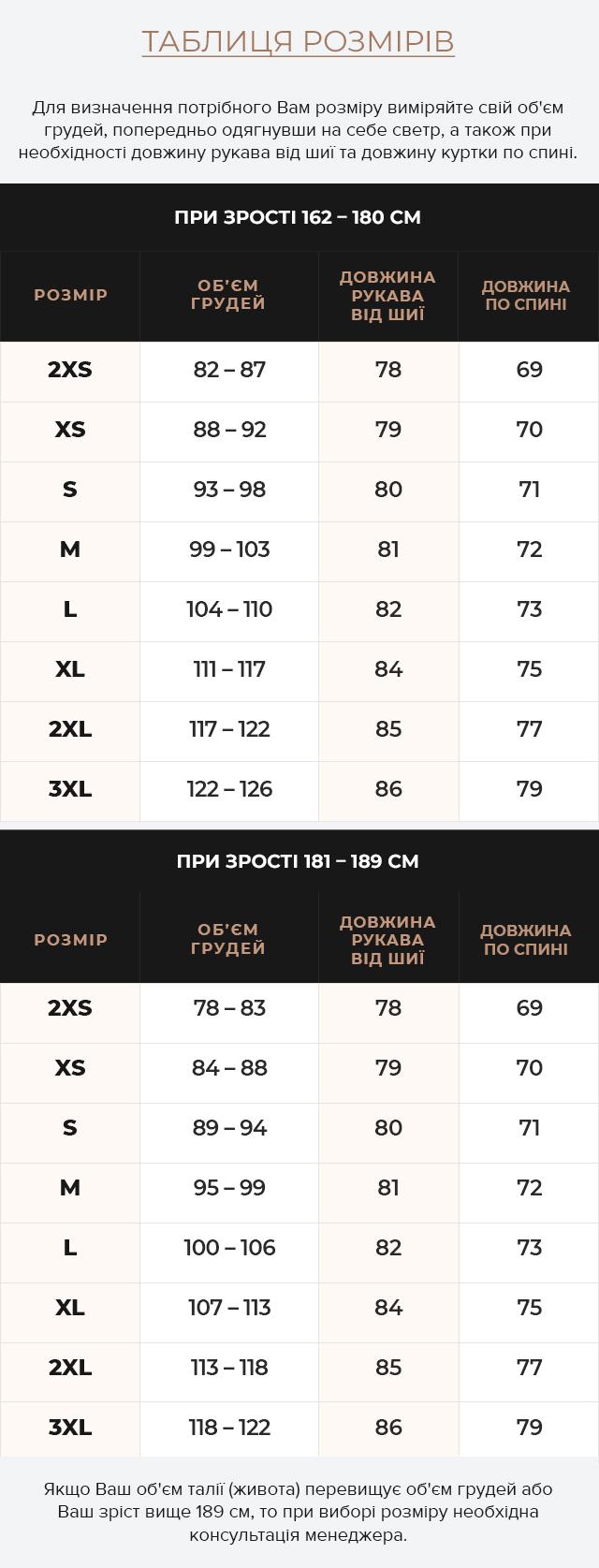 Таблиця розмірів Підліткова куртка для хлопчика зимова темно-синя модель 6008