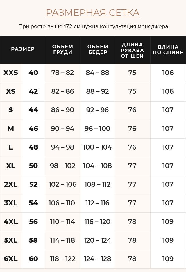 Таблица размеров Фирменная куртка женская цвет капучино модель 31515