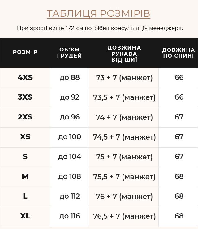 Таблиця розмірів Рубінова куртка з манжетами жіноча зимова модель 57520
