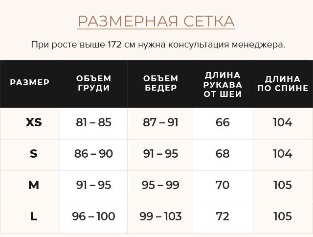 Таблица размеров Куртка серая женская длинная на зиму модель 8889