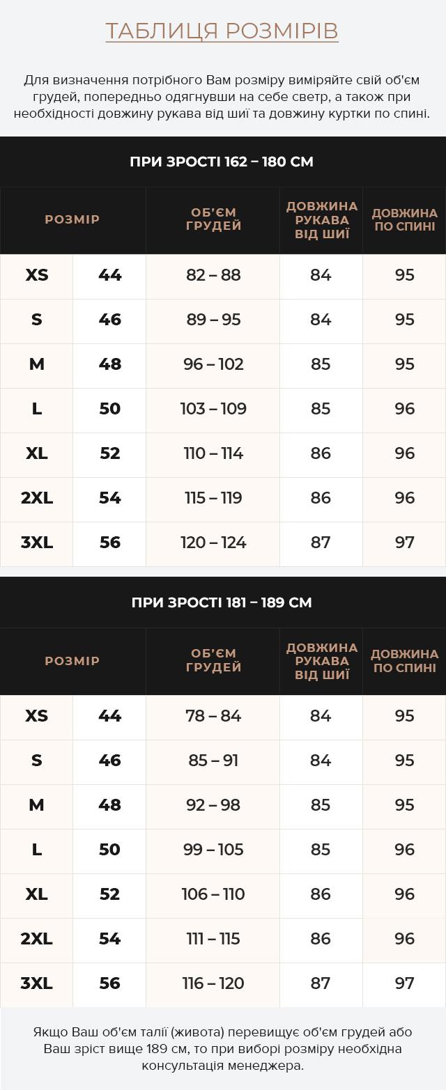 Таблиця розмірів Куртка – воздуховик зимовий чоловічий колір темно-синій модель 45062