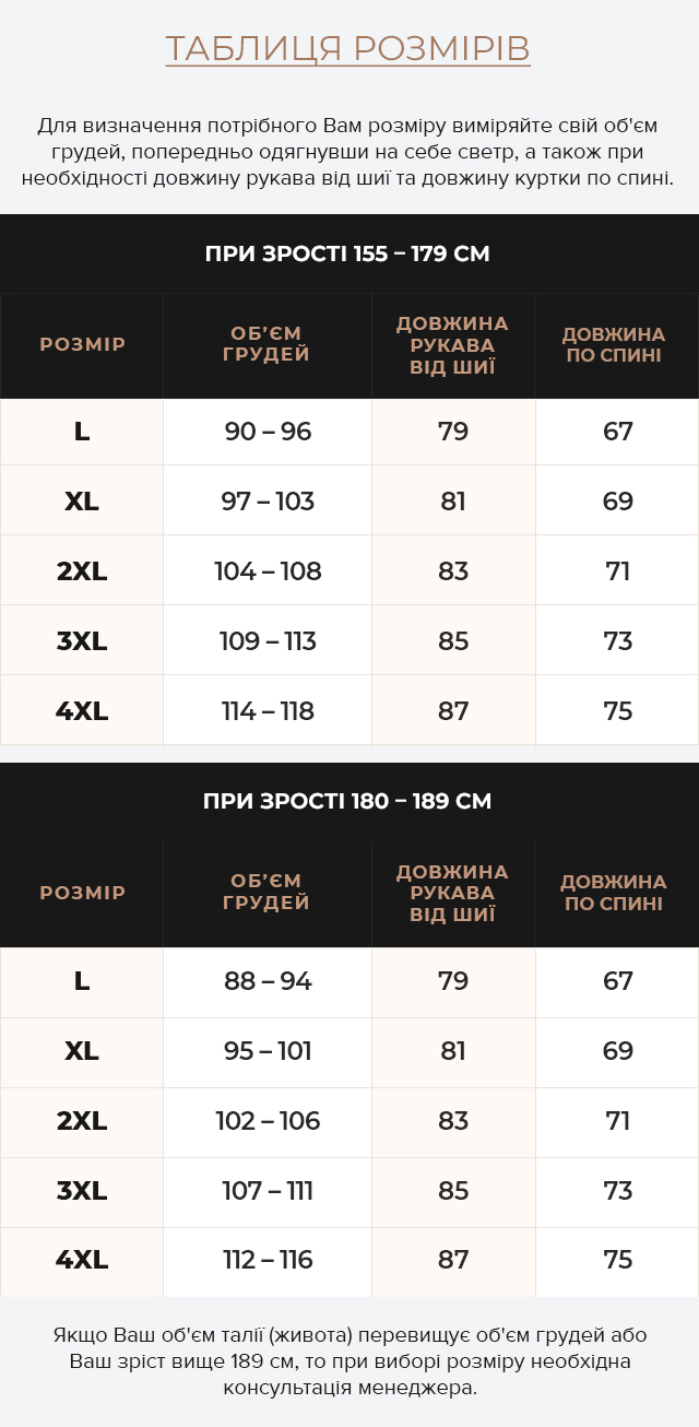 Таблиця розмірів Зручний бомбер темно-синій чоловічий модель 50145