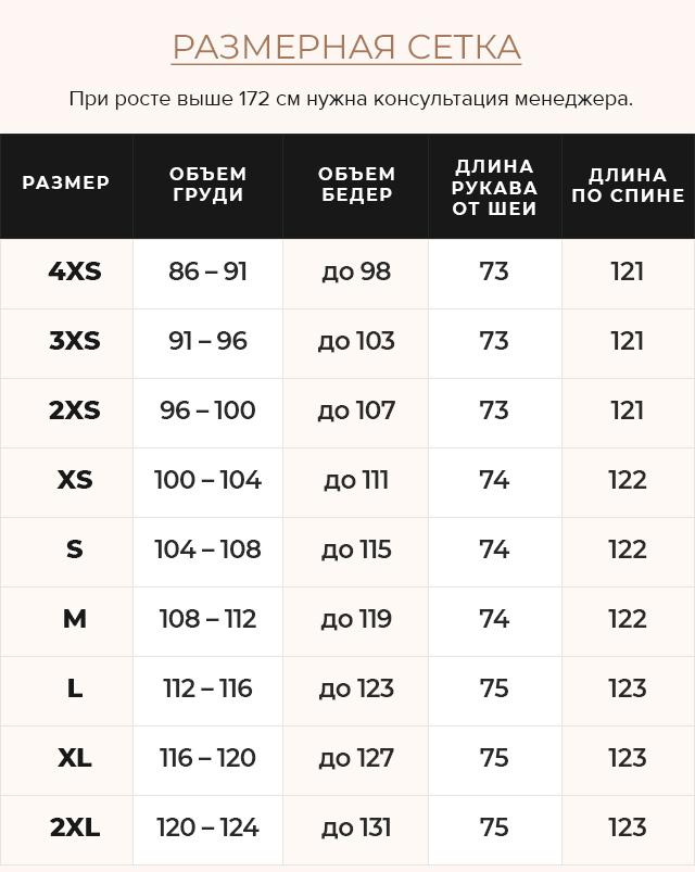 Таблица размеров Теплая куртка женская черная модель 42830