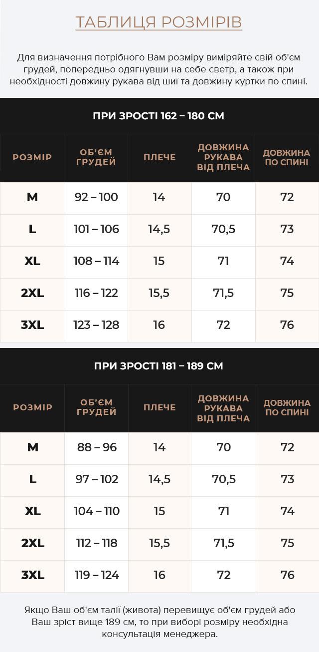 Таблиця розмірів Куртка – воздуховик із кишенями зимовий чоловічий колір джинс модель 15078