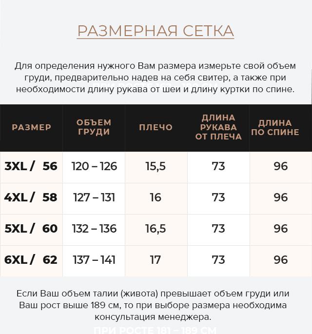 Таблица размеров Графитовая куртка большого размера стильная мужская модель 35610
